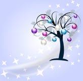 Christmas colored bulbs tree background Stock Photo