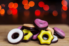 Christmas colored candy on a bokeh background stock images