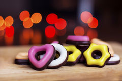 Christmas colored candy on a bokeh background Royalty Free Stock Photo