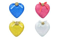 Christmas colored hearts. Against white background Stock Image