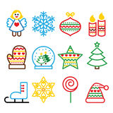 Christmas colored icons with stroke - Xmas tree, angel, snowflake. Vector icons set for celebrating Xmas isolated on white Stock Photo