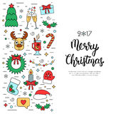 Christmas colored isolated concept, flyer, card with traditional attributes in line style with hand lettering inscription. Handwri Stock Photography