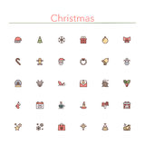 Christmas Colored Line Icons. Set. Vector illustration Stock Image