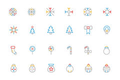 Christmas Colored Outline Icons 3 Stock Images