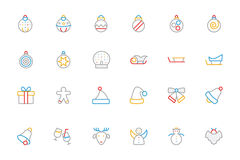 Christmas Colored Outline Icons 2 Royalty Free Stock Images