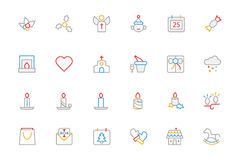 Christmas Colored Outline Icons 3 Stock Image
