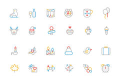 Christmas Colored Outline Icons 4 Stock Photos
