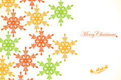 Christmas: Colored Snowflakes. Santa Claus and many snowflakes Stock Photos