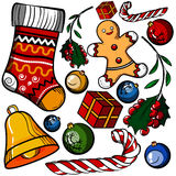 Christmas colored toy set Royalty Free Stock Images