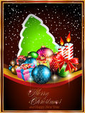 2014 Christmas Colorful Background. With a golden frame, snow and a lot of baubles and stars Royalty Free Stock Images