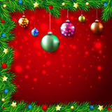 Christmas Colorful Background with lights and baub. Les, stars,fir branches sample Stock Image