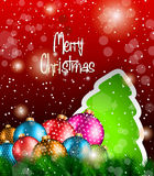 2014 Christmas Colorful Background. With tree at the bottom, snow and a lot of baubles and stars Royalty Free Stock Photos