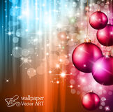 2014 Christmas Colorful Background. With a waterfall of ray lights and a lot of baubles and stars Royalty Free Stock Photos