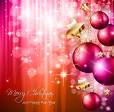 2014 Christmas Colorful Background. With a waterfall of ray lights and a lot of baubles and stars Royalty Free Stock Images