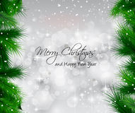 2014 Christmas Colorful Background. With a waterfall of ray lights and a lot of baubles and stars Stock Image