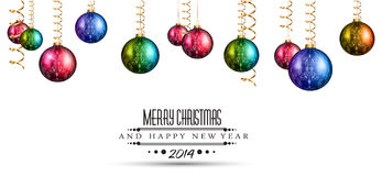 2014 Christmas Colorful Background. With a waterfall of ray lights and a lot of baubles and stars royalty free illustration
