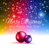 2015 Christmas Colorful Background. With a waterfall of ray lights and a lot of baubles and stars Royalty Free Stock Photos