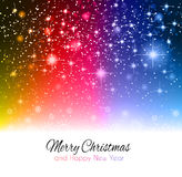 2014 Christmas Colorful Background. With a waterfall of ray lights and a lot of baubles and stars Royalty Free Stock Photography