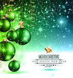 2014 Christmas Colorful Background. With a waterfall of ray lights and a lot of baubles and stars Royalty Free Stock Photo