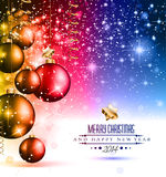 2014 Christmas Colorful Background. With a waterfall of ray lights and a lot of baubles and stars Stock Images