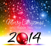 2014 Christmas Colorful Background. With a waterfall of ray lights and a lot of baubles and stars Stock Photography