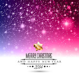 2014 Christmas Colorful Background. With a waterfall of ray lights and a lot of baubles and stars stock illustration