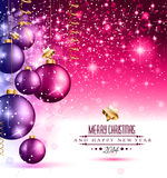 2014 Christmas Colorful Background. With a waterfall of ray lights and a lot of baubles and stars vector illustration