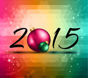2015 Christmas Colorful Background. With a waterfall of ray lights and a lot of baubles and stars Stock Image