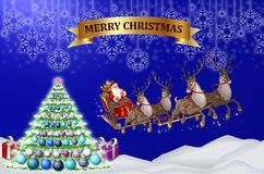 Christmas colorful backround. With Santa Claus, reindeers, pine, snow, stars and presents Stock Photo