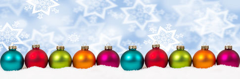 Christmas colorful balls banner decoration background snow winte Royalty Free Stock Photography