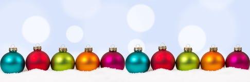 Christmas colorful balls banner decoration copyspace copy space Stock Photos