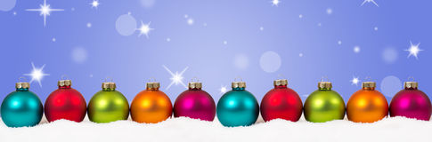 Christmas colorful balls banner decoration stars background copy Stock Photo