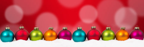Christmas colorful balls banner red decoration copyspace copy sp Stock Photo