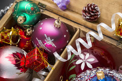 Christmas colorful balls and decoration in the Stock Photography