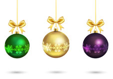 Christmas colorful balls with gold ribbon Stock Image