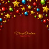 Christmas colorful balls and golden stars on Stock Photo