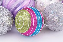 Christmas balls. Christmas colorful balls on gray background stock image