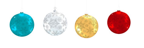 Christmas colorful balls isolated on white background. 3d rendering of christmas balls Stock Photos