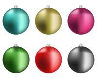 Christmas colorful balls. Six colorful and sparkling Christmas balls Royalty Free Stock Photo