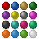 Christmas colorful balls. Sixteen colorful and sparkling Christmas balls Stock Images