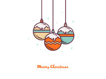 Christmas colorful balls. Vector outline xmas illustration. Design for holiday greeting card. Christmas colorful balls. Vector outline xmas illustration. Design Stock Images