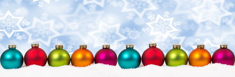 Christmas colorful balls winter snow banner decoration copyspace Stock Photography