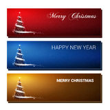 Christmas colorful banners set vector illustrations stock illustration