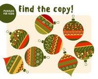 Christmas colorful baubles set in patchwork style. Stock Images