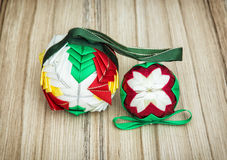 Christmas colorful baubles on the wooden background Royalty Free Stock Photo