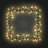 Christmas colorful bulbs, garland forming a square, vector. Festive blank quadratic frame with electric garland. Christmas golden bulbs, garland forming a square Stock Photos