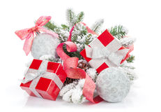 Christmas colorful decor, gift box and snow fir tree Royalty Free Stock Images