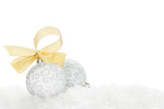 Christmas colorful decor over snow Stock Images