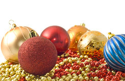 Christmas - colorful decoration baubles and beads Stock Photography