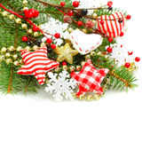 Christmas colorful decorations background border Stock Image